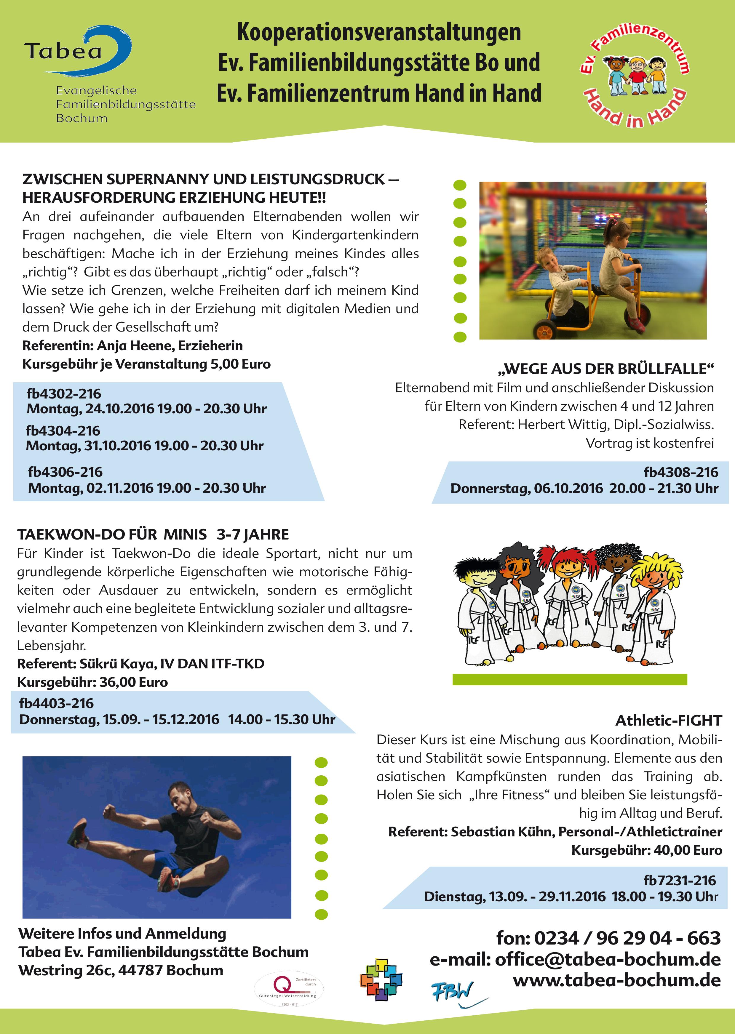 Kooperationsveranstaltungen Ev. Familienbildungsstätte Bo und Ev. Familienzentrum Hand in Hand